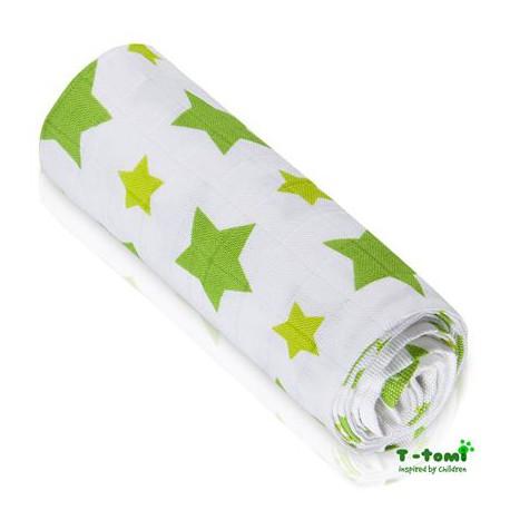 T-TOMI Bambusová osuška hviezdičky zelená