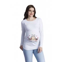 MAMIMODE Tričko s motívom Hallo Lieblingsmensch White