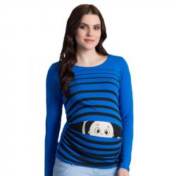 MAMIMODE Tričko s motívom Guck Guck Dark Blue