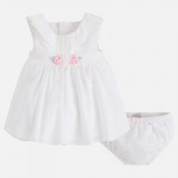 MAYORAL Šaty s ružičkami + nohavičky Crudo