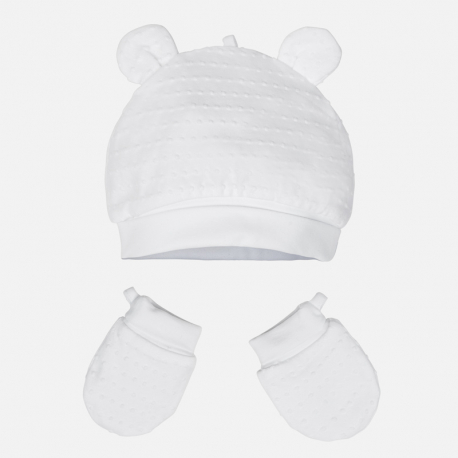 MAYORAL Čiapka + rukavičky Bianco