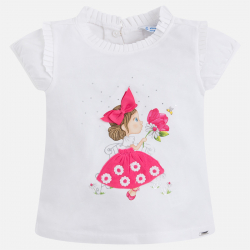 MAYORAL Tričko dievčatko s mašličkou Fuchsia