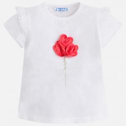 MAYORAL Tričko biele + ružový kvietok, krátky rukáv