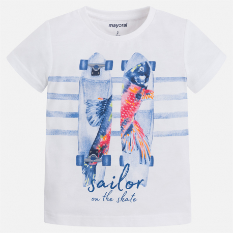 MAYORAL Tričko biele skeit sailor, krátky rukáv