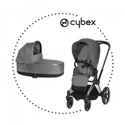 CYBEX Priam Chrome Black športový kočík manhattan grey lux plus, hlboká vanička manhattan grey lux plus