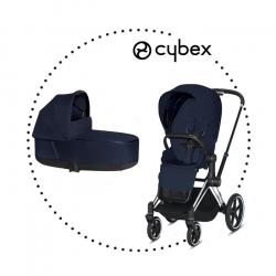 CYBEX Priam Chrome Black športový kočík midnight blue lux plus, hlboká vanička midnight lux plus