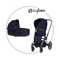 CYBEX Priam Chrome Brown športový kočík midnight blue lux plus, hlboká vanička midnight lux plus
