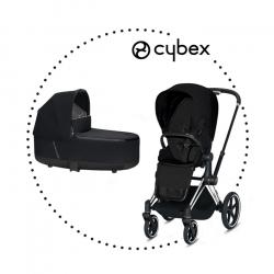 CYBEX Priam Chrome Black športový kočík stardust black lux plus, hlboká vanička stardust black lux plus