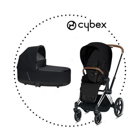 CYBEX Priam Chrome Brown športový kočík stardust black lux plus, hlboká vanička stardust black lux plus