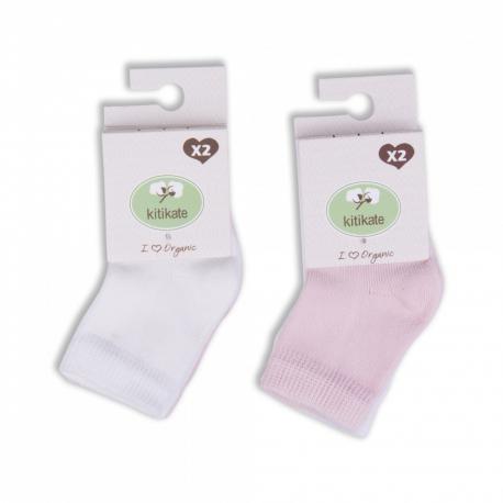 KITIKATE Ponožky White-Pink č. 3-6m, 2ks