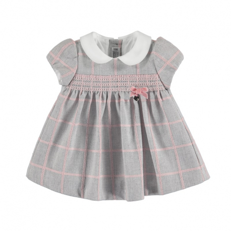 MAYORAL Šaty layette girl silver