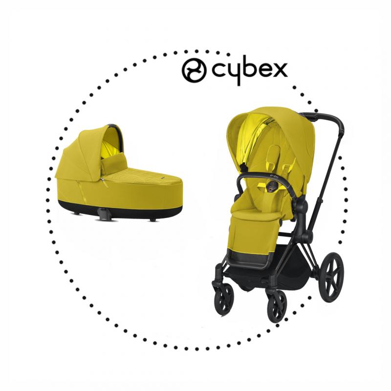 CYBEX Priam Matt Black športový kočík, hlboká vanička lux mustard yellow