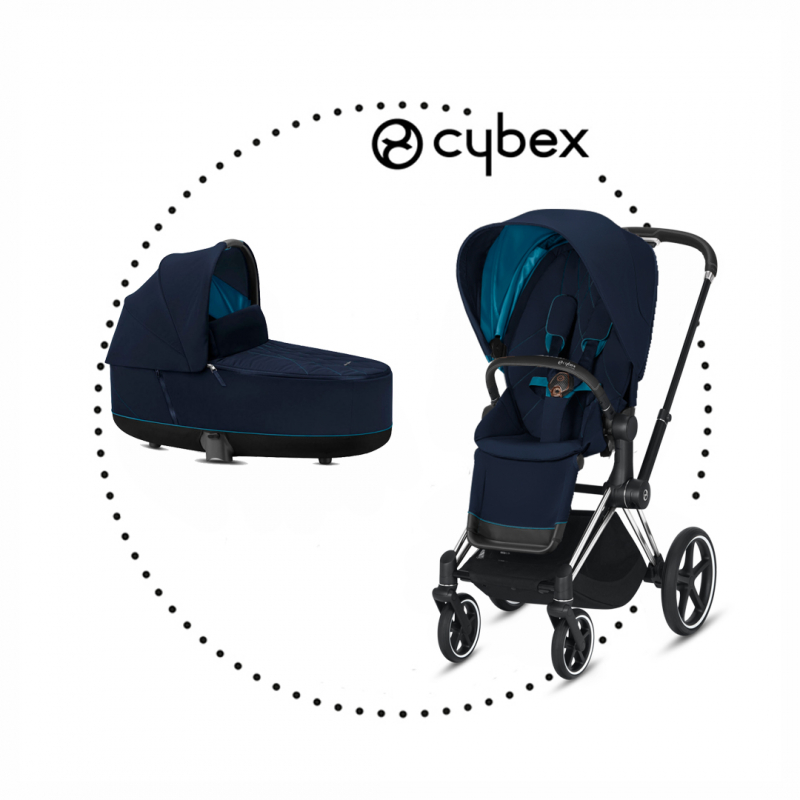 CYBEX Priam Chrome/Black športový kočík, hlboká vanička lux nautical blue