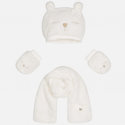 MAYORAL Set čiapka + šál + rukavice biele č.12m