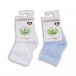 KITIKATE Ponožky White-Blue č. 3-6m, 2ks
