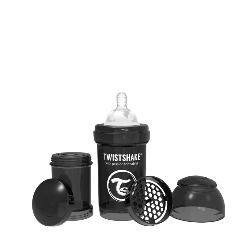 TWISTSHAKE Dojčenská fľaša Anti-Colic 180ml (cuml.S) - Čierna