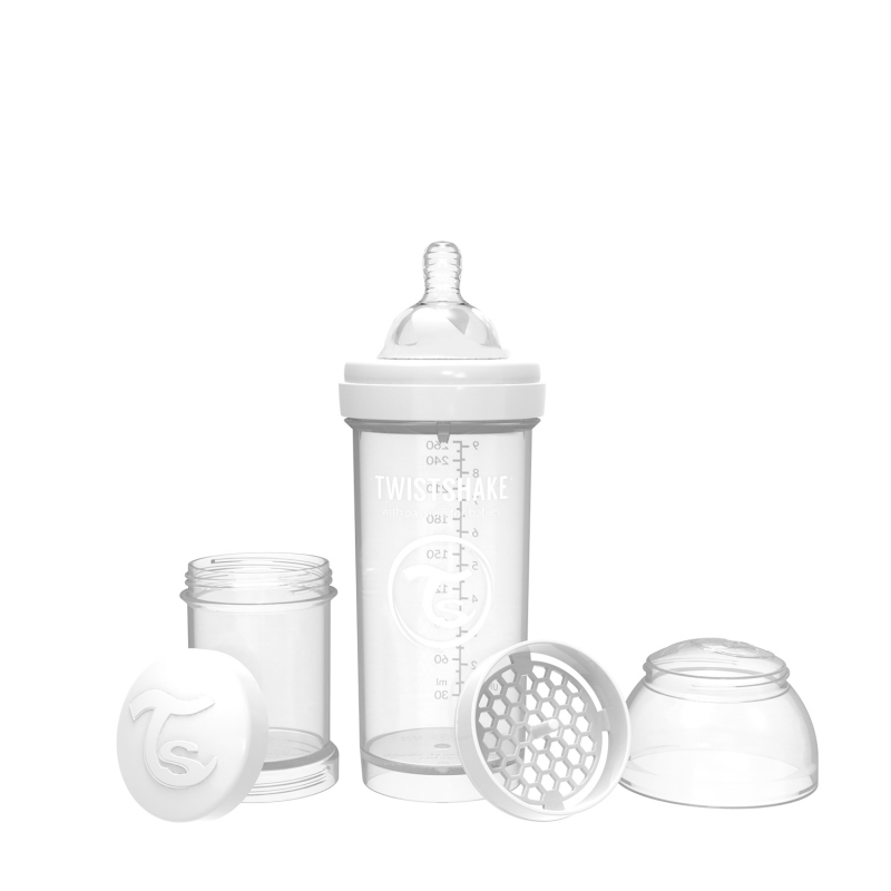 TWISTSHAKE Dojčenská fľaša Anti-Colic 260ml (cuml.M) - Biela