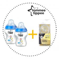 TOMMEE TIPPEE Set Fľaša 260ml DECORATED 2ks + Cumlíky pre Fľaše VARIFLOW 0m+ 2ks