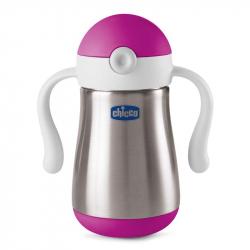 CHICCO Hrnček nerezový Chicco Power Cup so slamkou a rúčkami 18m+, ružový