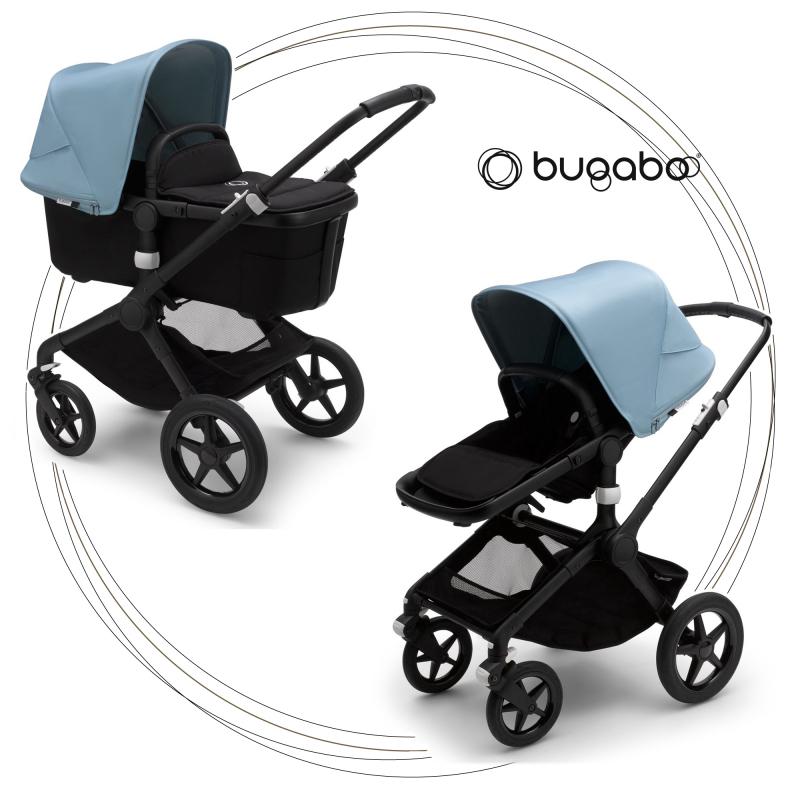 BUGABOO Fox 2 - 2. kombinácia Podvozok BLACK, poťah športového sedadla, hlboká vanička BLACK strieška VAPOR BLUE