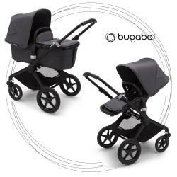 BUGABOO Fox 2 - 2. kombinácia Podvozok BLACK, poťah športového sedadla, hlboká vanička STEEL GREY strieška STEEL GREY