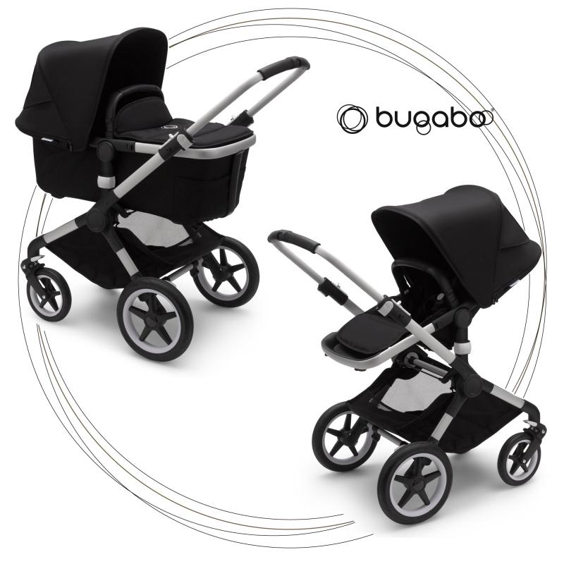 BUGABOO Fox 2 - 2. kombinácia Podvozok ALU poťah športového sedadla, hlboká vanička BLACK strieška BLACK