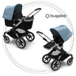 BUGABOO Fox 2 - 2. kombinácia Podvozok ALU poťah športového sedadla, hlboká vanička BLACK strieška VAPOR BLUE