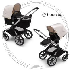 BUGABOO Fox 2 - 2. kombinácia Podvozok ALU poťah športového sedadla, hlboká vanička BLACK strieška FRESH WHITE