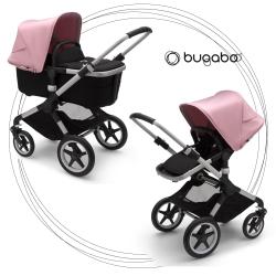 BUGABOO Fox 2 - 2. kombinácia Podvozok ALU poťah športového sedadla, hlboká vanička BLACK strieška SOFT PINK