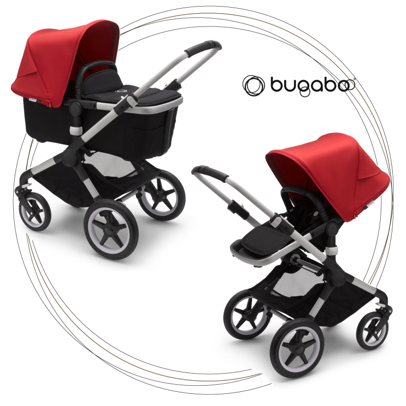 BUGABOO Fox 2 - 2. kombinácia Podvozok ALU poťah športového sedadla, hlboká vanička BLACK strieška RED
