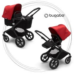 BUGABOO Fox 2 - 2. kombinácia Podvozok BLACK poťah športového sedadla, hlboká vanička BLACK strieška RED