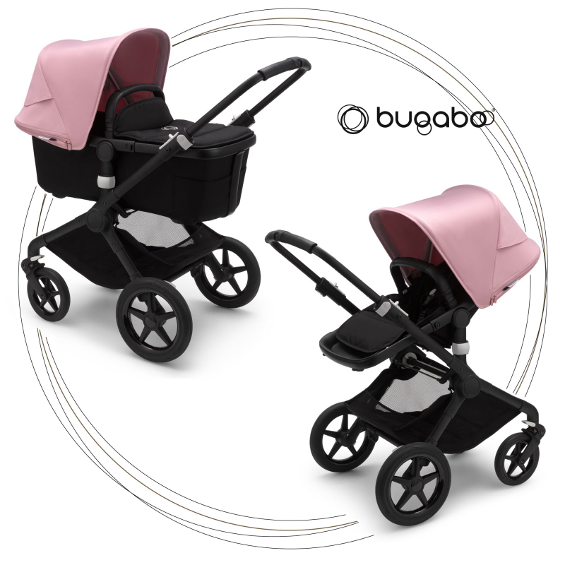 BUGABOO Fox 2 - 2. kombinácia Podvozok BLACK poťah športového sedadla, hlboká vanička BLACK strieška SOFT PINK