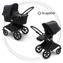 BUGABOO Fox 2 - 2. kombinácia Mineral Colection Podvozok BLACK, poťah športového sedadla, hlboká vanička, strieška Washed Black