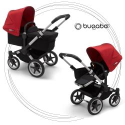 BUGABOO Donkey 3 Mono 2. kombinácia Podvozok ALU poťah športového sedadla, hlboká vanička BLACK strieška RED