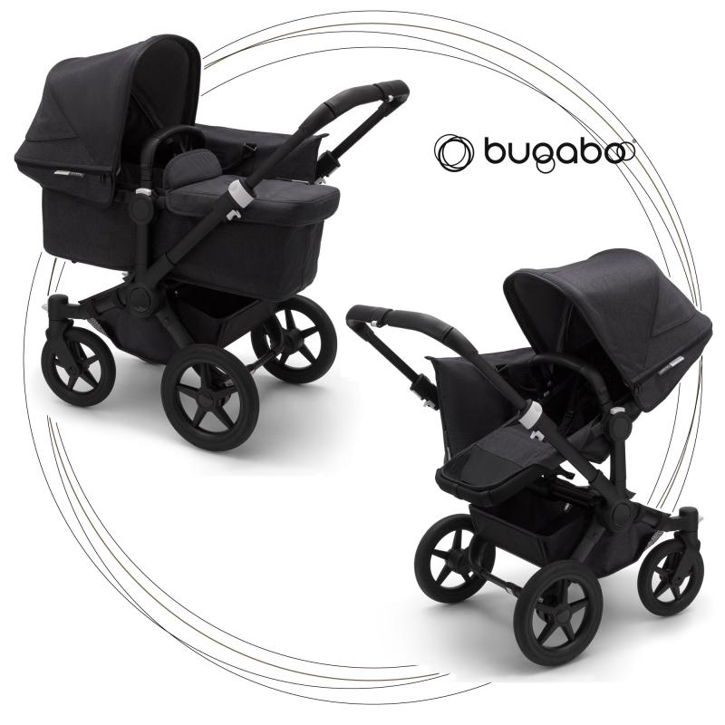 BUGABOO Donkey 3 Mono 2. kombinácia Podvozok Black poťah športového sedadla, hlboká vanička strieška Washed Black