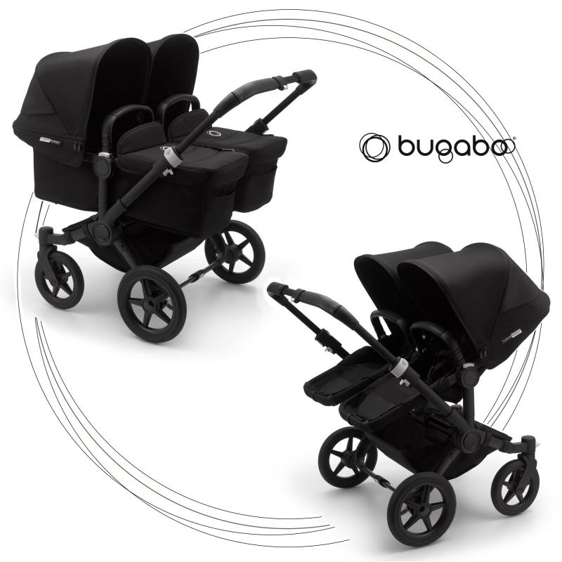 BUGABOO Donkey 3 Twin Podvozok BLACK poťah športového sedadla, hlboká vanička BLACK strieška BLACK