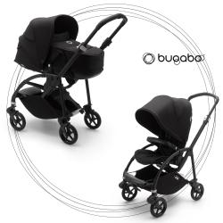 BUGABOO Bee6 - 2 kombinácia podvozok BLACK, poťah športového sedadla BLACK, hlboká vanička BLACK, strieška BLACK