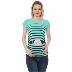 MAMIMODE Tričko s motívom GUCK GUCK Turquoise krátky rukáv