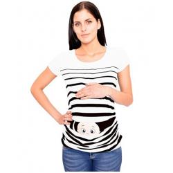 MAMIMODE Tričko s motívom GUCK GUCK White krátky rukáv