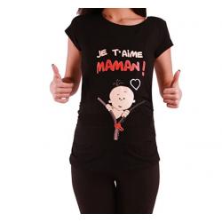 MAMIMODE Tričko s motívom JE T´AIME MAMAN! Black krátky rukáv
