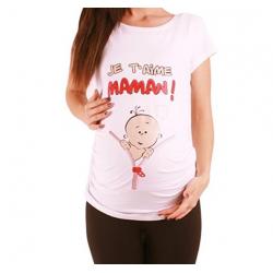 MAMIMODE Tričko s motívom JE T´AIME MAMAN! White krátky rukáv