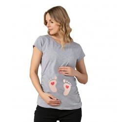 MAMIMODE Tričko s motívom BABY FUSSE Grey krátky rukáv