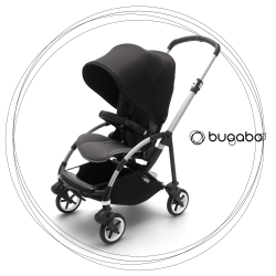 BUGABOO Bee 6 Podvozok ALU poťah športového sedadla GREY strieška BLACK