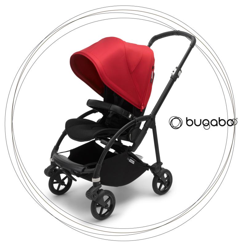 BUGABOO Bee 6 Podvozok BLACK poťah športového sedadla BLACK strieška RED