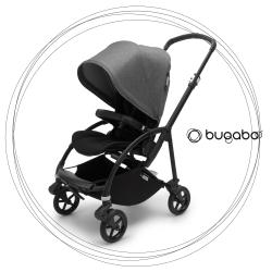 BUGABOO Bee 6 Podvozok BLACK poťah športového sedadla BLACK strieška GREY MELANGE