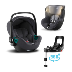 BRITAX-ROMER Baby-Safe 3 i-Size+Báze FLEX BASE Isense+autosedačka DUALFIX iSense - Midnight Grey