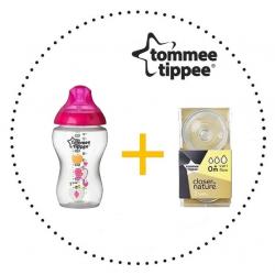 TOMMEE TIPPEE Set Fľaša 340 ml + Cumlíky pre Fľaše VARIFLOW 0m+ 2ks