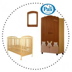 PALI Ciak Set - detská postieľka natural, matrac latex, posteľná bielizeň 3-dielny set