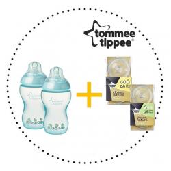 TOMMEE TIPPEE Set Fľaša 260 ml ks + Cumlíky pre Fľaše SLOW 0m+ 2ks + VARIFLOW 0m+ 2ks