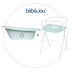 BÉBÉ JOU Vanička Click Lou-Lou+Kovový stojan Click na vaničku Bébé-Jou 98 cm mentolový